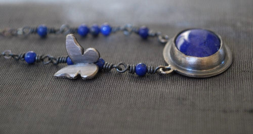 Find your Spirit Lapis Lazuli with Butterfly Necklace, Artisan Handmade Jewelry by kathryncole