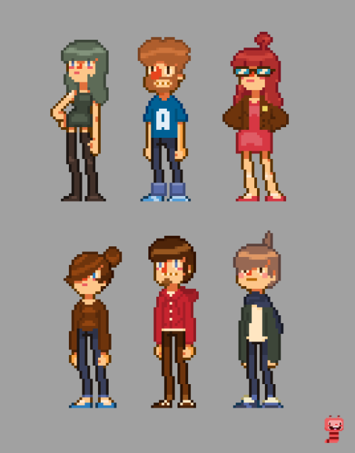 Some ideas for some pixel people I did a few weeks ago.  Not sure what i'm going to do with them?