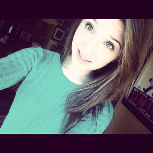got my braces off…and yes my eyes match my sweater don't judge;p