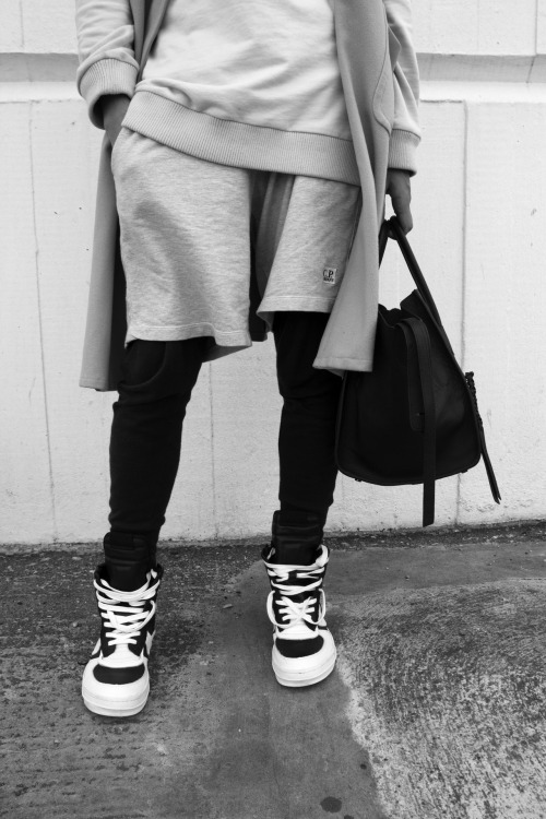 basketball shorts and rick owens sneakers