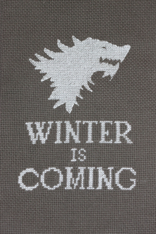 gameofthrones:  'Winter is Coming' cross stitch by Josie  It's actually here (in Paris at least).