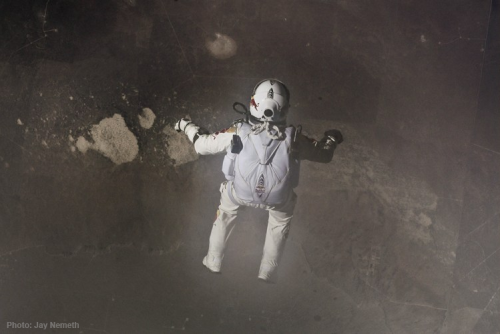 Pilot Felix Baumgartner jumps out of his capsule during the final manned flight for Red Bull Stratos in Roswell, New Mexico, USA on October 14, 2012. Photo: Jay Nemeth/FlightLine Films for Red Bull
