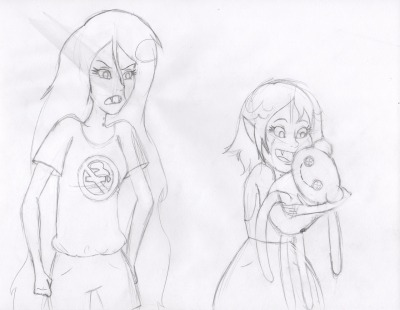 wendymabelaraneadarling:  some Marcy Sketches. WILL INDEED colour. =] and if you're wondering what the smear on older marcy is it'stotallynot atearnotatall just a drip of condensation from the soda i was drinking…..