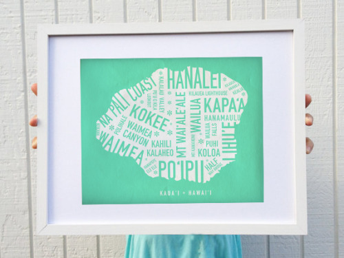 New color for the KAUAI MAP PRINT…now comes in Mint Green!