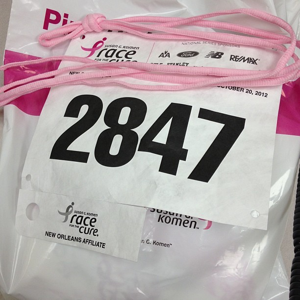 Got my bag. My number and I got pink shoe laces!!!  #komen