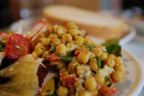Warm Chickpea and Tomato Salad Recipe was created by much talked about chef Marcus Samuelsson, chef of Red Rooster in Harlem, New York. Click here for the recipe. [ko]