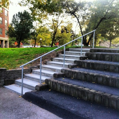 10 stair #handrail in my hood, with perfect run up just dying for someone to #skate it.