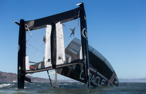 Catamaran worth millions capsizes; crew swept out to sea under Golden Gate Bridge (Photo: Guilain Grenier / Oracle Team USA via AP)   Crew members hang from the mesh netting after the Oracle Team USA AC72 boat capsized on San Francisco Bay on Oct. 16. The America's Cup champion syndicate is assessing the damage to its 72-foot catamaran, after it capsized and was swept by a strong current more than four miles past the Golden Gate Bridge before rescue boats could control it. Read the complete story.