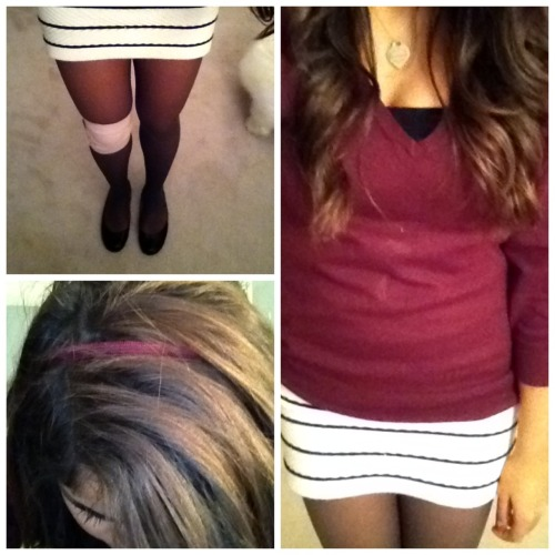 OOTD! (Like my knee bandage? I'm crippled, nbd) Pullover- J.Crew Skirt- Forever 21 Tights- TJMaxx (I think!) Shoes- Nine West Necklace- Tiffany & Co Headband- no idea sorry :(