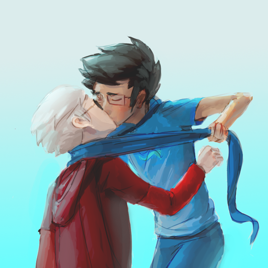 sonotcanon:  man how do you draw people kissing this is not a thing i understanddd *rolls under a table* drew this while watching neverNoahh draw really cool request art via livestream last night!