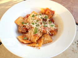 Three Cheese Ravioli with Italian sausage.