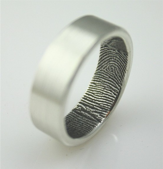 """her finger print inside your wedding ring"" Gahh I want this!"