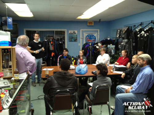 Our next PADI Divemaster course has started at Action Scuba Montreal, taught by our 2 dedicated Course Directors, Gary & Roch. Our DM candidates will be working hard over the coming winter so that next summer they will be all set to help our team of instructors introduce new divers to this great sport of ours! Good luck to all of them! If you want to learn more about becoming a PADI Divemaster, or discover why Action Scuba is your best choice for completing your PADI dive professional program, visit our website or drop by to talk to us.
