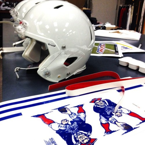 Making the #Patriots #throwback helmets  New England is getting all gussied up for their Jets game this weekend.