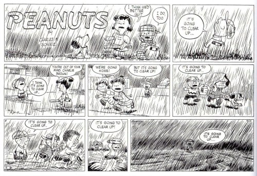 mightyflynn:  Charles Schulz (November 4, 1954)  Starring Bud Selig as Charlie Brown. (St. Louis/SF game to resume at 9:05 CDT. NYY/Detroit postponed.)