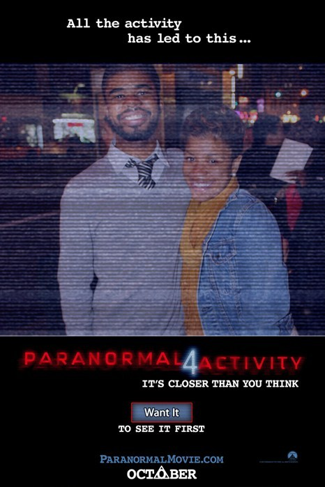 "Last Night, I went to the advanced screening of Paranormal Activity 4 with Cam. When she asked to take our picture, I thought it was just a regular ""say cheese"" picture. Had I known that it was like a Paranormal Activity poster, I would've put on my spooky face. Anyway. We got free concessions, the Paranormal Activity 3 on DVD, and front row seats. -_____- Still a good time though!"