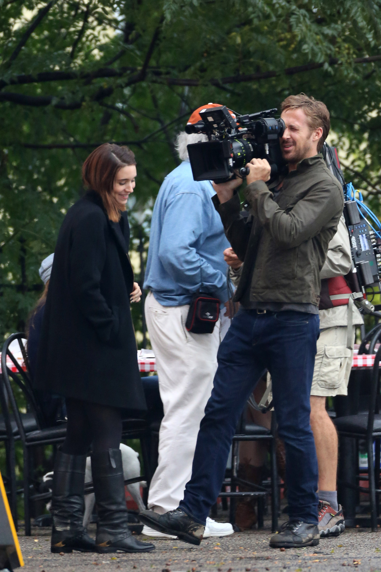 suicideblonde:  Ryan Gosling and Rooney Mara on the set of Terrence Malick's untitled film in Austin, October 16th
