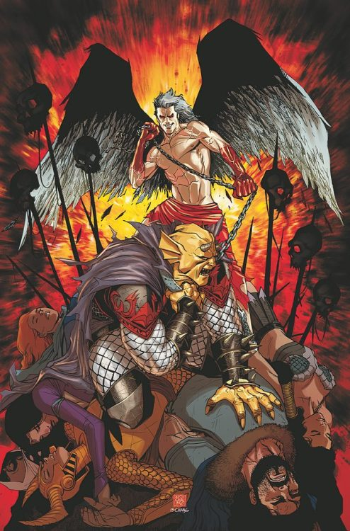 The Demon Knights lose to Lucifer on the cover to Demon Knights #13 from DC.