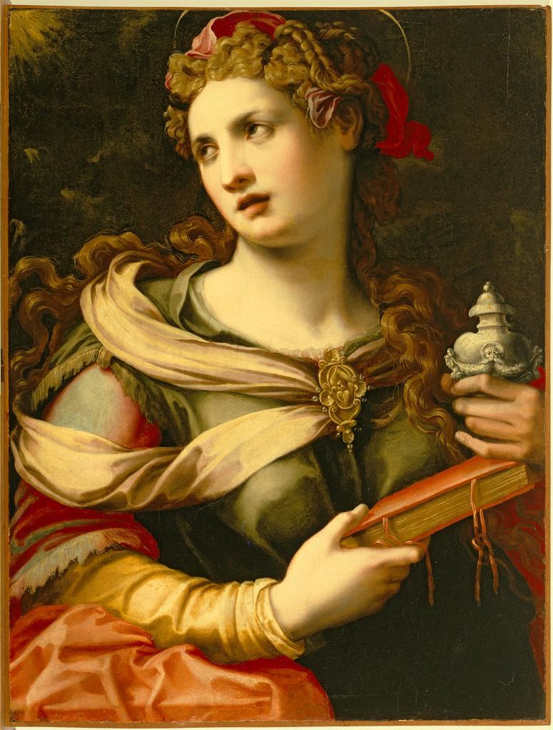 María Magdalena. Michele Tosini (Italian, 1503–1577). Museum of Fine Arts, Houston. Tosini studied with Lorenzo di Credi and Antonio del Ceraiolo before entering the workshop of Ridolfo Ghirlandaio. Tosini began painting in the early 16th-century Florentine style. His acceptance of Mannerism was slow, but by the 1540s the influence of Francesco Salviati and Agnolo Bronzino was observable in his work. Tosini adopted a vocabulary derived from the work of Michelangelo and painted some of his best-known works in this manner