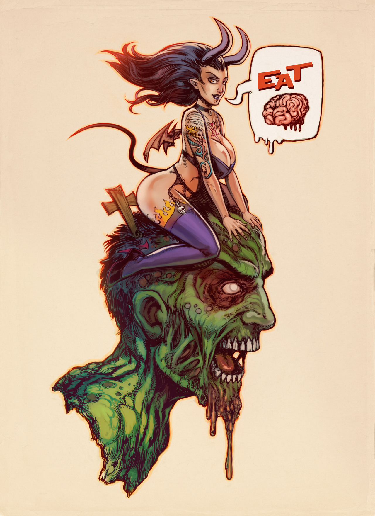 garabating:  Eat Brains by ~WacomZombie