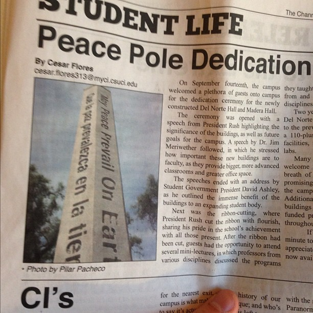 This Peace Pole Dedication article seems more about Del Norte and Madera Halls than anything else. #news #newspaper