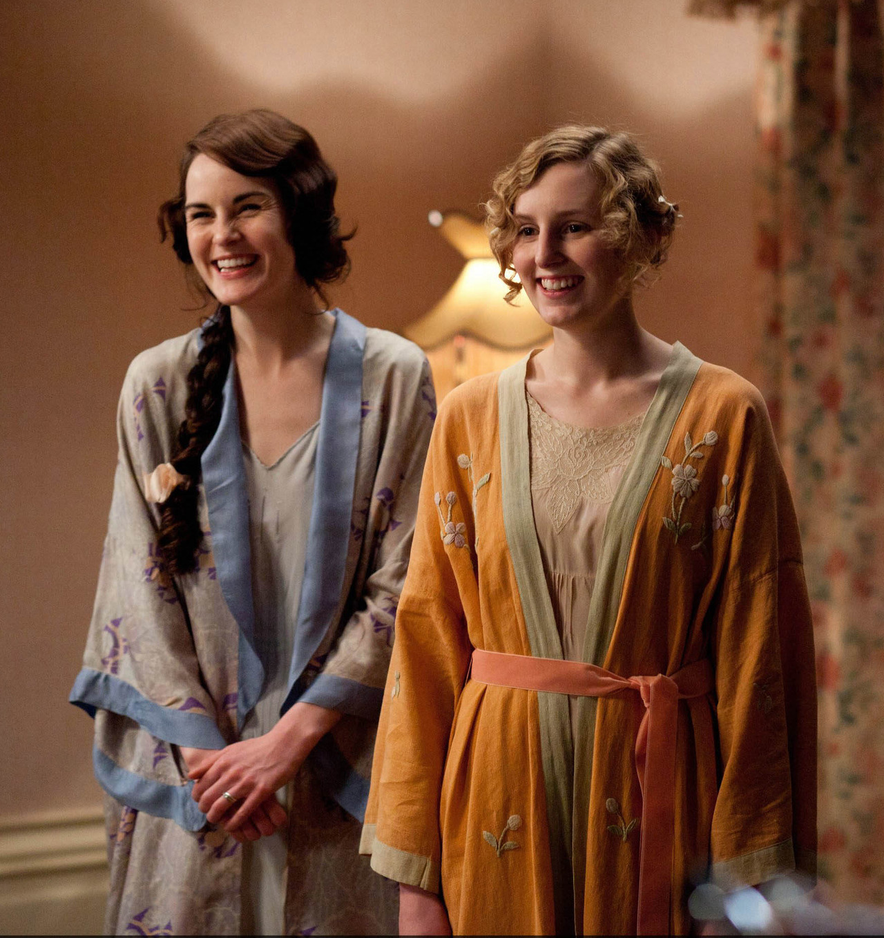 Michelle Dockery and Laura Carmichael on the set of Downton Abbey