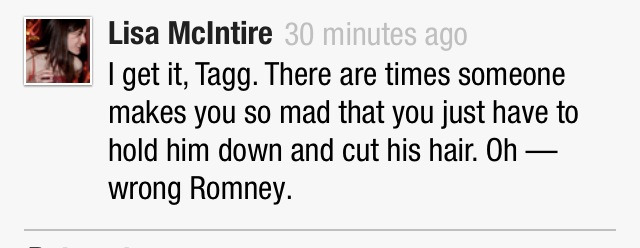 "lycanpedia:  Tagg Romney wanted to ""take a swing"" at Obama during debate http://americablog.com/2012/10/tagg-romney-punch-swing-hit-obama.html"