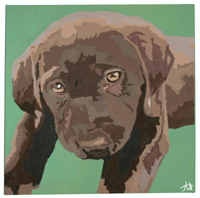 """Lucy"" // acrylic on 20x20"" canvasA commissioned pup portrait. Chocolate lab flavor."