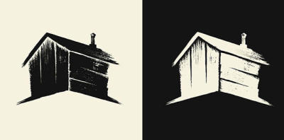 Olly Moss's logo for The Woodshed Horror Company is subtle and perfect.