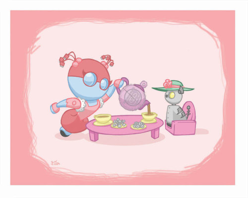 Tea time for the lady-bots and their kitties =)  Botz: Tea Time by ~Sideways8Studios