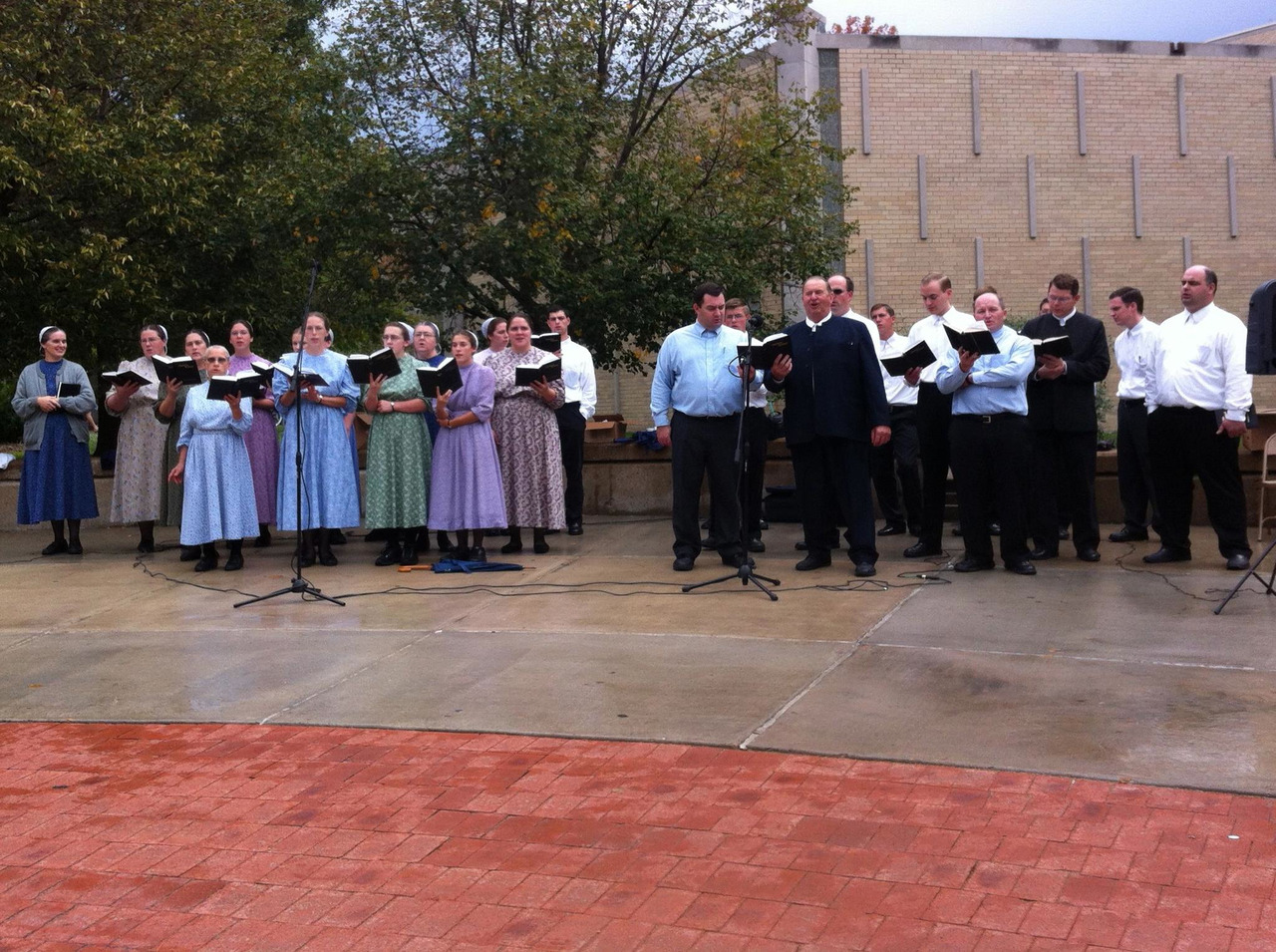 A group of Mennonites from Versailles and Warrensburg gathered at Mizzou's Speakers Circle in October to sing gospel music.