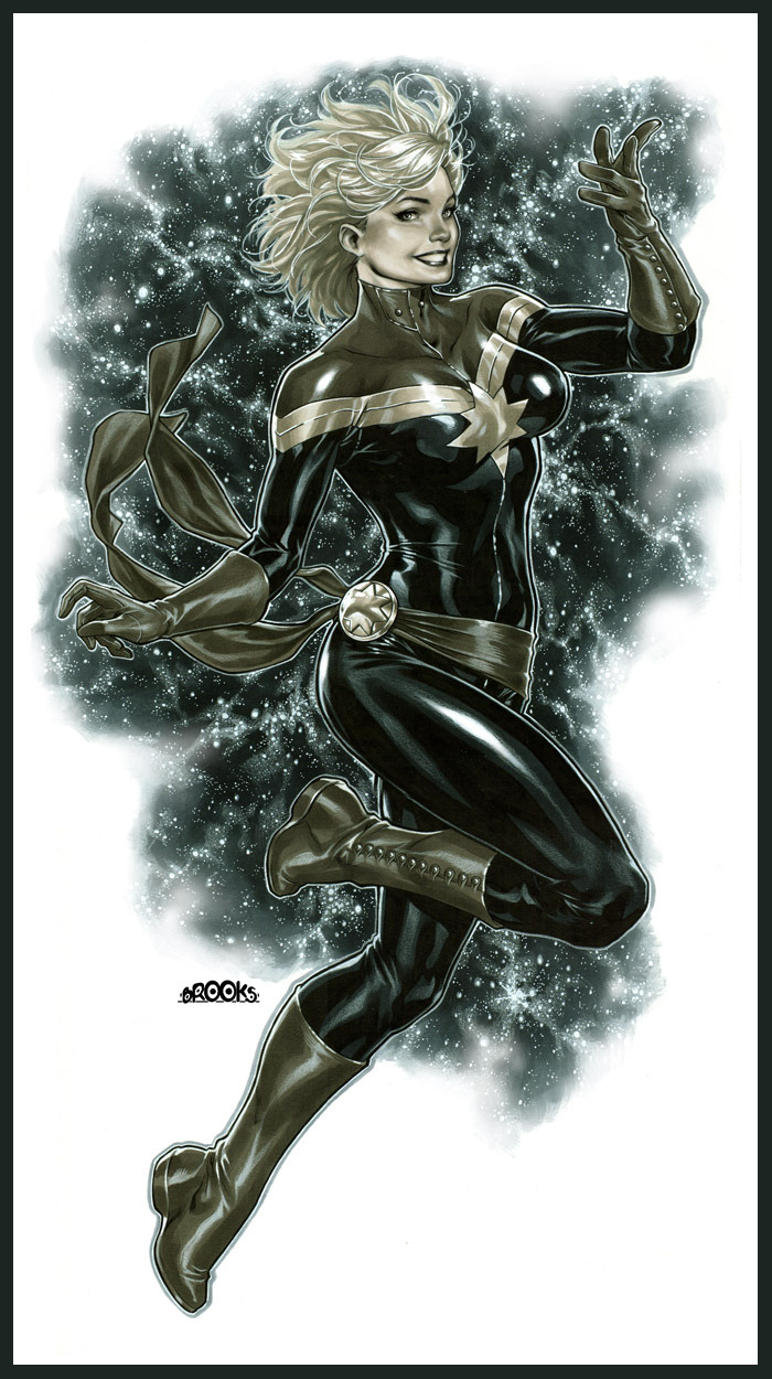 Mixed media commission of Captain Marvel by Mark Brooks