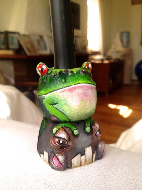 My little friend - Frog and Hippo - Wacom pen holder. Mould by Bobby Chiu at Imaginism… painted by me.
