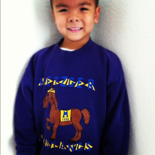 This my #nephew, Zach. He's 5 years old and is in #kindergarten. He's wearing my #crewneck #sweater from when I was on kindergarten in #1995. I realized 2 things: 1. Time sure does fly and 2. I was a big kindergartener. #chunkybaby #metzger #mustangs #tigard #oregon