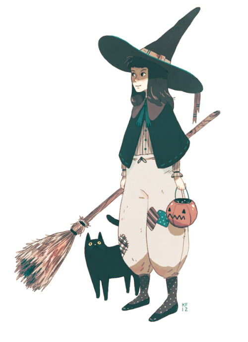 juliedillon:  kylefewell:  Little witch and her cat  ahh, so cute!