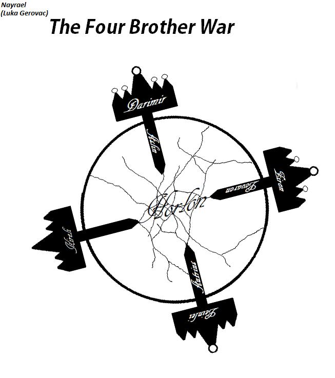 The Four Brother War - Chapter 1: The Final Hours The first chapter of my Original Fiction has been published on Fictionpress.com. If you like Dark Fantasy and Politics, I hope you give it a try :)  For those interested in what the story is about, it is about a civil war between four brothers and the noble houses supporting them.  The first chapter is focused on introducing characters who will support the brother with strongest claim (and the rightful claim on the throne), mainly the Aslin-Alin noble family, and foreshadows some of the plot points.  So please, do rad if you have time and will and comment/review :)   And don't mind the horrible cover: I am not exactly skilled at drawing ^_^; (if anyone wonder what is drawn there, it is four crowns with names of the four brothers (the more accessories, the older the brother is) with swords that have names of the distinguished families that support their claims… and in middle of all, a cracking orb that represents the Kingdom they fight over)
