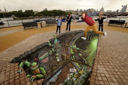 Teenage Mutant Ninja Turtles 3D street painting in London by Joe & Max.