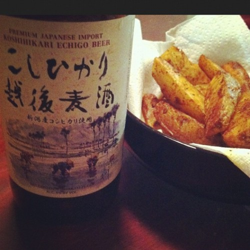 #koshihikariichigo #japanesebeer #nigata & #homemade #frenchfries w @ashley_outram..