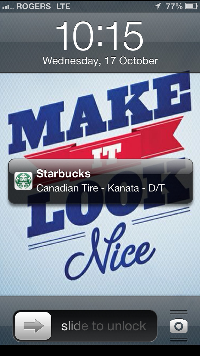 iOS 6'a Passbook feature in action. Slide to show the related pass.