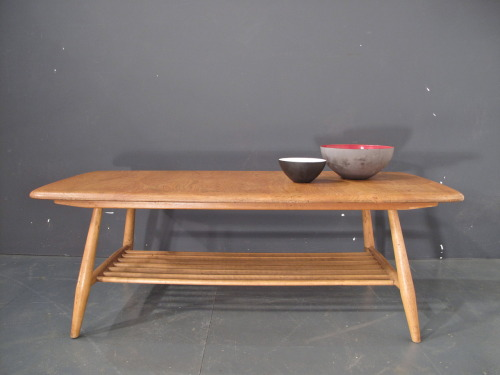 1950s ercol coffee table with magazine rack solid elm and beech SOLD