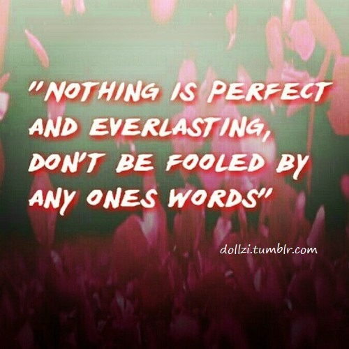 """Nothing is perfect and everlasting, don't be fooled by any ones words"""