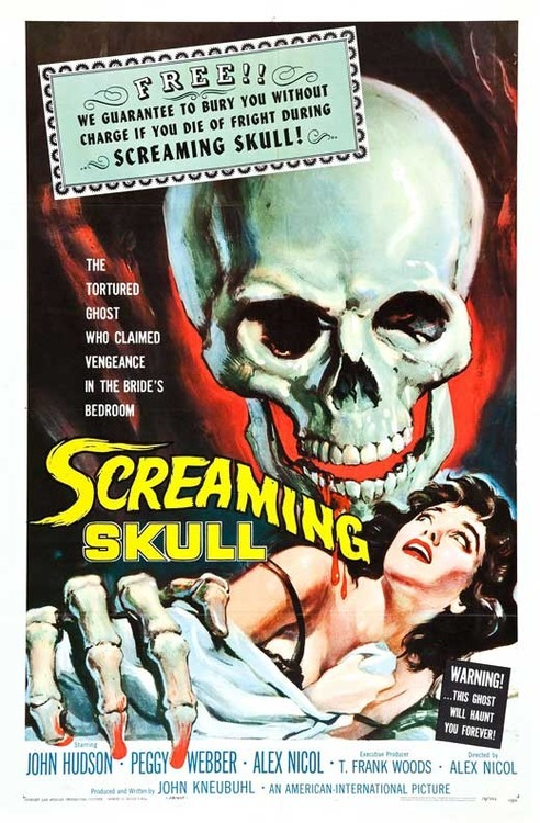 Halloween Movie Challenge: 19 out of 31 Screaming Skull This film had the perfect opening to sum up old movies, with a warning to viewers about the risk of being scared to death! This film reminded me a little of House on Haunted Hill where is was horror, ghost and almost murder mystery! It had a classic story line, resulting in madness and death. It was an OKAY film but thats about it  XxxxxxxxX