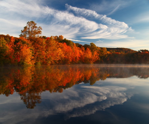 "NEWS 8 Report It Photo of the Day: ""Fall foliage with a nice reflection including some clouds."" In Hamden. Photo sent in via Report It by Michael Hornak."
