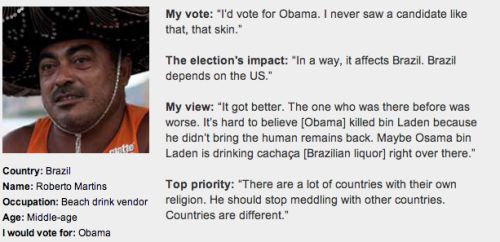 "What if Brazil could vote in the US election?  Find out how the rest of the world would vote with GlobalPost's series, ""What if the world could vote?"""