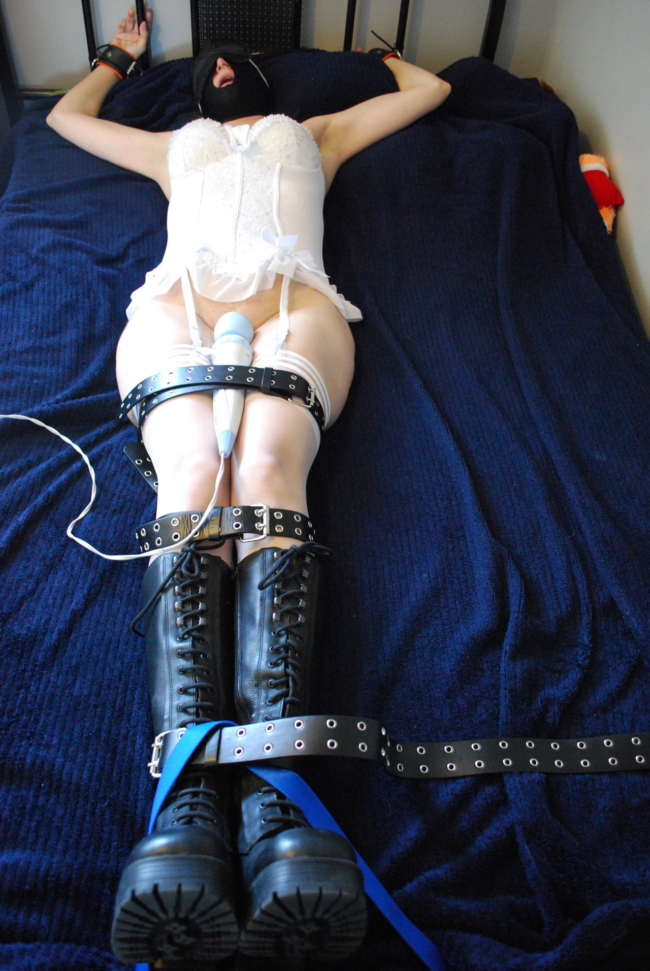 Bed Bondage #3 Vibrator held snugly in place and running on high - What a tease.