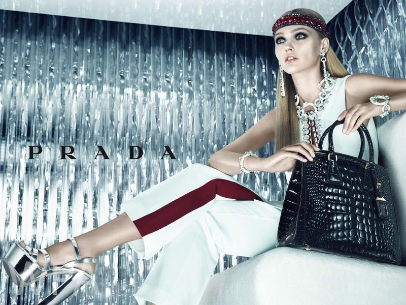 Sasha Pivovarova for Prada Resort Ad Campaign by Steven Meisel.