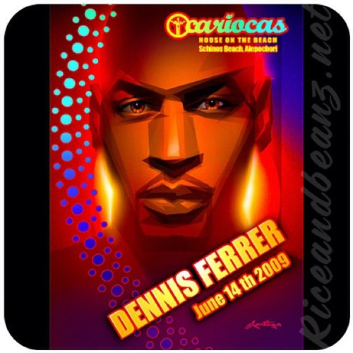 Old club design work. Portrait of DJ Dennis Ferrer 2009 in Athens Greece. #DJ #DennisFerrer #Greece #HouseMusic #DJportrait #portrait #illustration #santiago #Riceandbeanz