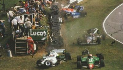 men of mayhem …the first lap incident involving Eddie Cheever (Benetton Alfa Romeo 184T), Jo Gartner (Osella-Alfa Romeo FA1F), Philippe Alliot (Skoal Bandit RAM-Hart 02) & Stefan Johansson (Tyrrell-Ford 012) during the 1984 British Grand Prix at Brands Hatch