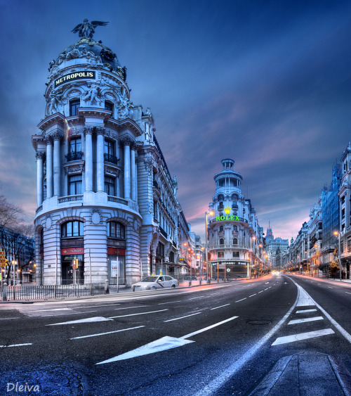 """ Gran Via in Madrid, Spain"" by Domingo Leiva"