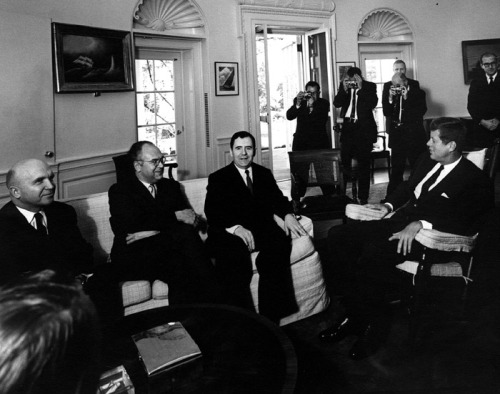 "jfklibrary:  October 18, 1962 — Day Three of the Cuban Missile Crisis President Kennedy meets with Soviet Ambassador Andrei Gromyko in the Oval Office. The memorandum of the meeting notes the Ambassador's desire to be open with the United States:  ""Mr. Gromyko said he knew that the President appreciated frankness. Mr. Khrushchev's conversation with the President at Vienna had been frank and therefore, with the President's permission, he himself wished to be frank, too.""  Despite this promise of openness, Gromyko did not speak about the Soviet missiles in Cuba, unaware that President Kennedy already knew of their existence, but had also chosen not to discuss them. (source: jfklibrary.org)"